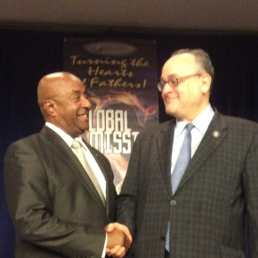 U.S. Major General (retired) John Hawkins (left) lectured with Jeffery Leving at Howard University.